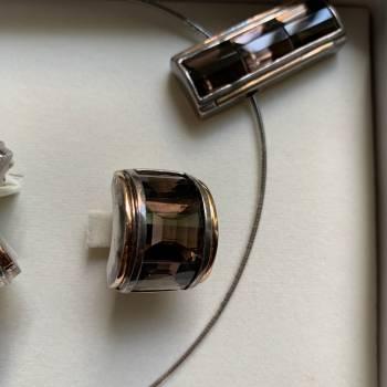 Foto Carousel Producto: Juego anillo dije aretes topacio plata GoTrendier