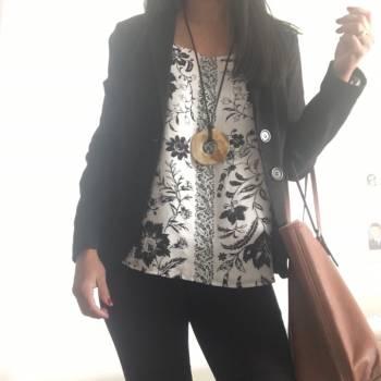 Foto Carousel Producto: Blusa blanco con negro Loft GoTrendier