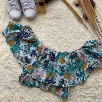 Foto Carousel Producto: MAMO001  Blusa azul de flores GoTrendier