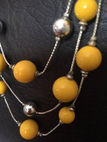 Foto Carousel Producto: Collar plata y perlas amarillas GoTrendier
