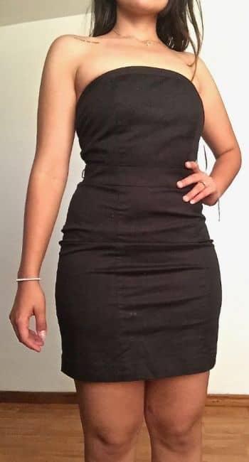 Foto Carousel Producto: Vestido strapless negro de fiesta GoTrendier