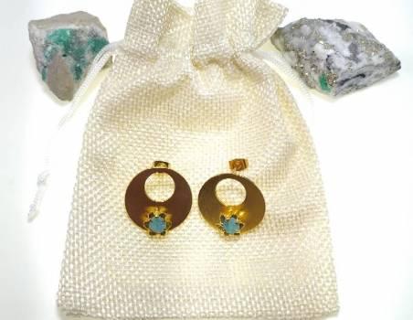 Foto Carousel Producto: Aretes dorados esmeralda rustica artesan GoTrendier